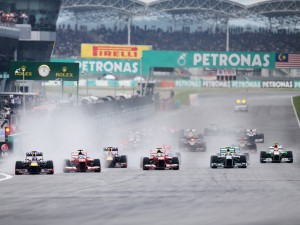 The race was started wet but quickly dried out