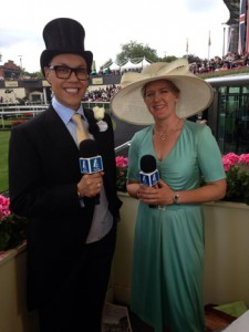 Gok Wan & Claire Balding Looking a Picture at Royal Ascot. Image credit @Channel4Racing