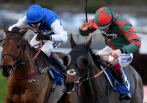 Emperors Choice (left) battles with Benvolio at the line. Image credit @Channel4Racing